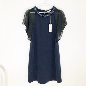 NWT Rebecca Taylor 100% Silk Navy Sequin Dress 2